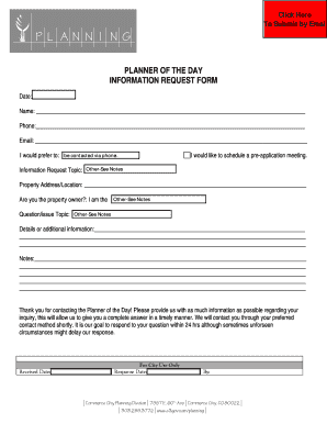 PLANNER OF THE DAY INFORMATION REQUEST FORM