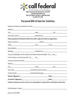 personal vehicle bill of sale