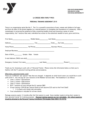 Fillable Online Laxymca Personal Training Agreement Form