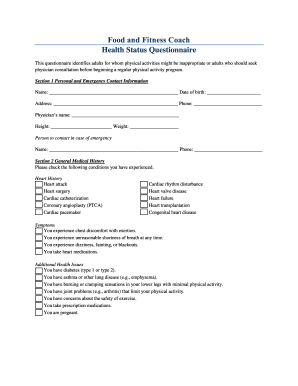 health history questionnaire acsm edit fill out download