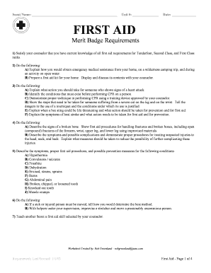 Fillable Online First Aid. Merit Badge Worksheet Fax Email Print ...