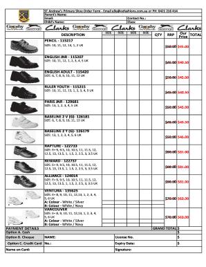 Shoe Order Form