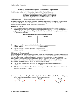 Worksheets Distance And Displacement Worksheet With Answers describing motion verbally with distance and displacement fillable and