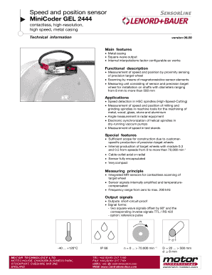 Fillable Online motec co Speed and position sensor MiniCoder
