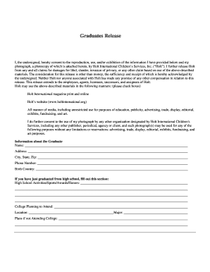 PDF Of The Graduate Release Form   Holt International  Cease And Desist Template Trademark