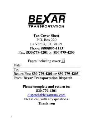 fillable online fax cover sheet bexar transportation fax email