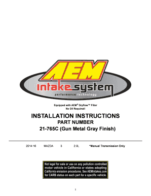 INSTALLATION INSTRUCTIONS PART NUMBER 21765C (Gun Metal Gray Finish) 201416 MAZDA 3 2