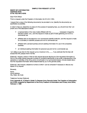 SAMPLE FOIA bREQUESTb LETTER INSERT BFC INFORMATION bb