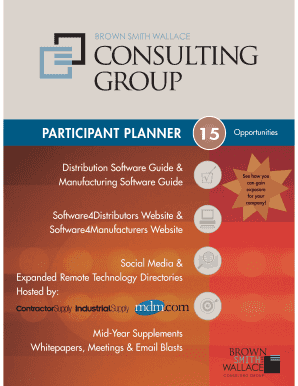 PARTICIPANT PLANNER 15 Opportunities - Distribution Software