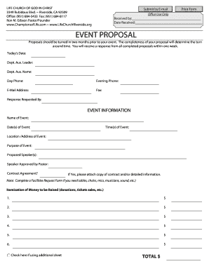 Fillable church event proposal template - Edit Online & Download