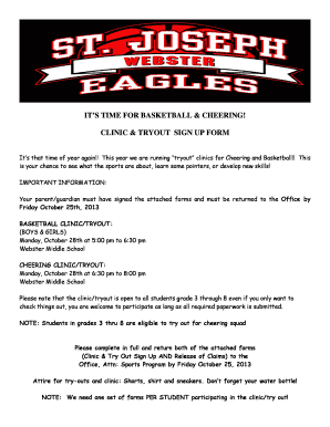 ITS TIME FOR BASKETBALL CHEERING CLINIC TRYOUT SIGN