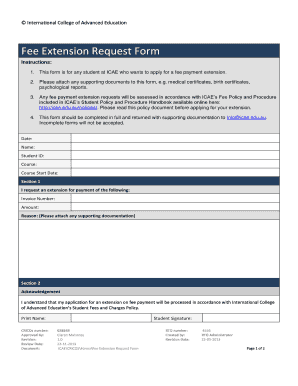 Fee Extension Request Form - International College of - icae edu