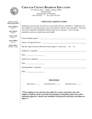 fillable online choctaw schooldesk employee absence form choctaw