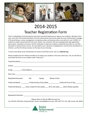 2015-2016 General Teacher Registration Form - Junior ... - jalincoln