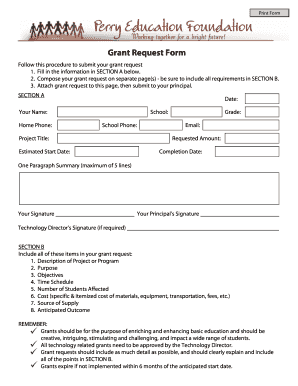 grant request form perry public schools - Supply Request Form