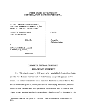 Editable complaint against housekeeping - Fillable