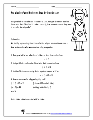 Pre Alge Word Problems - Fill Online, Printable, Fillable ... Pre Alge Area Problems on area of composite figures, area models, area of a trapezoid formula, area of complex figures, area notes, area of a rectangle, area examples, area activities, area of shapes, area and perimeter, area of a figure, area rules, area of a circle,
