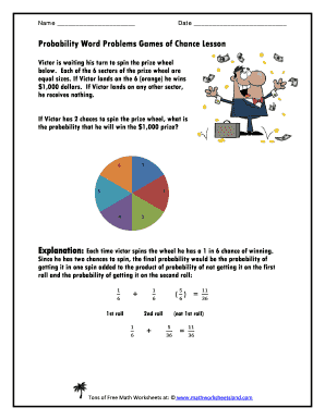 Fillable Online Probability Word Problems Games of Chance