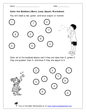 Color the Bubbles More Less Equal Worksheet Learning About Comparisons