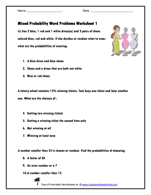fillable online mixed probability word problems worksheet 1 math worksheets fax email. Black Bedroom Furniture Sets. Home Design Ideas