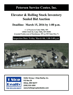 Elevator amp Rolling Stock Inventory Sealed Bid Auction