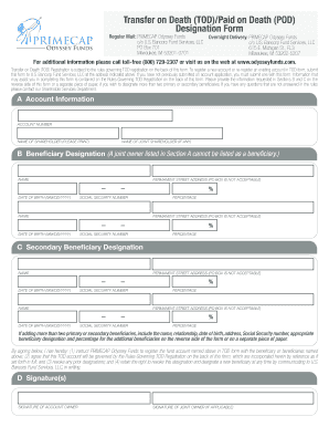 Transfer On Death Todpaid On Death Pod Designation Form Fill Online Printable Fillable Blank