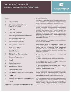 Fillable Shareholder Agreement Checklist Edit Print Download