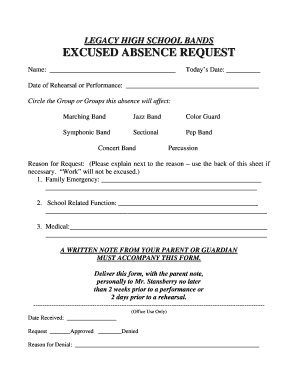 Fillable Online legacybands Excused Absence Form - Legacy High ...