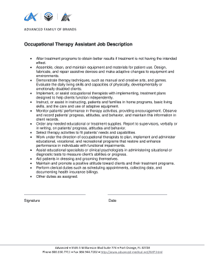 Occupational Therapy Assistant Job Description - advanced-medical