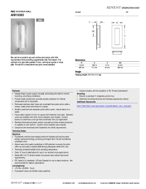ADVENT SPECIFICATION SHEET REO INTERIOR WALL JOB NAME TYPE AIW10363 ADA Reo can be mounted to any wall surface and comply with ADA requirements while providing supplemental side illumination