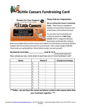 Fillable Online Little Caesars Fundraising Card ...