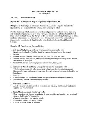 Resident Istant Job Description | Fillable Online Goodshepherdservices Cbrf Resident Assistant Job