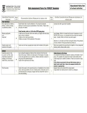 Risk Assessment Form For Out of School Trips