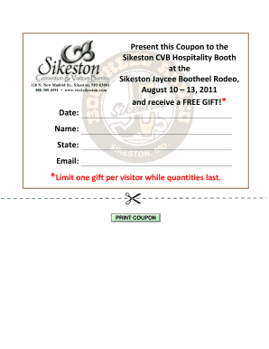 Sikeston Convention Visitors Bureau Coupon for a Gift and 2011 Rodeo August 10 - 13 2011