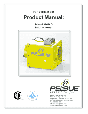 Part #120944001 Product Manual: Model #1690D InLine Heater IS O 9 0 0 1 Ce r tifie d T