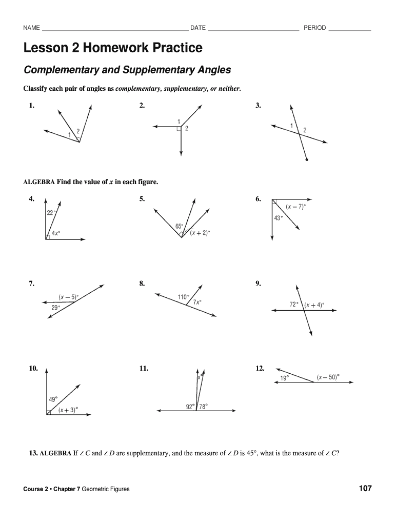 Lesson 1 Homework Practice Angle And Line Relationships Fill Online Printable Fillable Blank Pdffiller