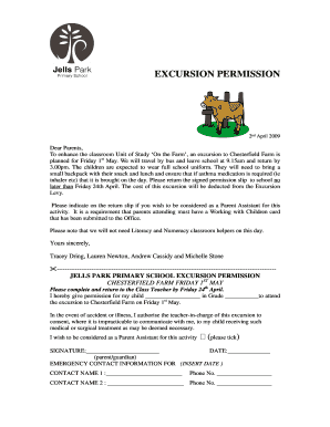 Excursion Permission Slip Template   Fill Out, Print U0026 Download Online  Forms Templates In Word U0026 PDF | Parentalpermissions.com  Permission Slip Template Word