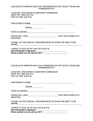 pick up slip template