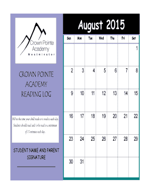 August Reading Calendar - Crown Pointe Academy - crownpointeacademy