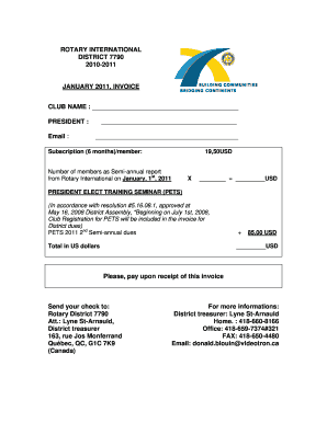 Fillable Online Ri Rotary International District - Videotron online invoice