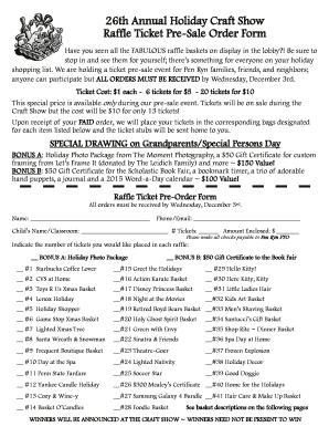 fillable online penryn 26th annual holiday craft show raffle ticket