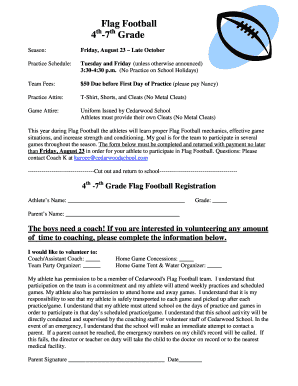 Football Registration Form Doc Edit Fill Out Online Templates