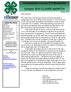 Trempealeau County 4H Newsletter1 October 2015 CLOVER disPATCH October, 2015 Hello Everyone - trempealeau uwex