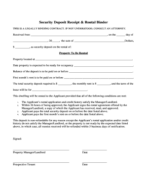 Security Deposit Receipt Agreement - My Affordable Housing