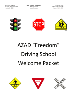 Fillable Online AZAD Freedom Driving School Welcome Packet