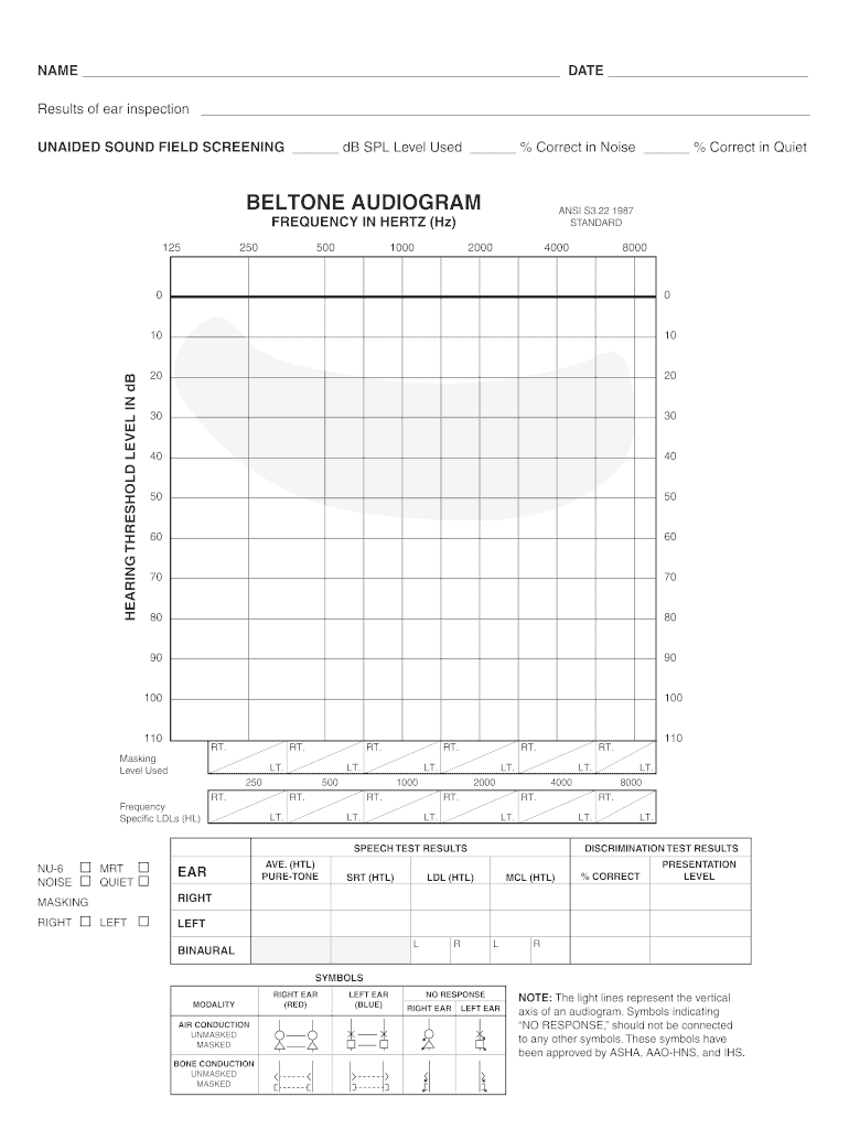Beltone Audiogram - Fill Online, Printable, Fillable, Blank With Blank Audiogram Template Download