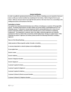 Doctors Certification form for Protected Status - Pascoag Utility District - pud-ri