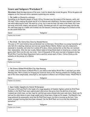 Fillable Online Name Genre And Subgenre Worksheet 9 Free Reading