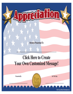 Fillable Online Military Certificate of Appreciation ...