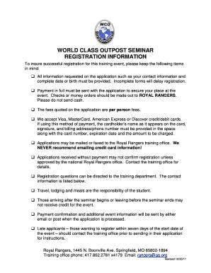 World Class Regis >> Fillable Online World Class Outpost Seminar Registration